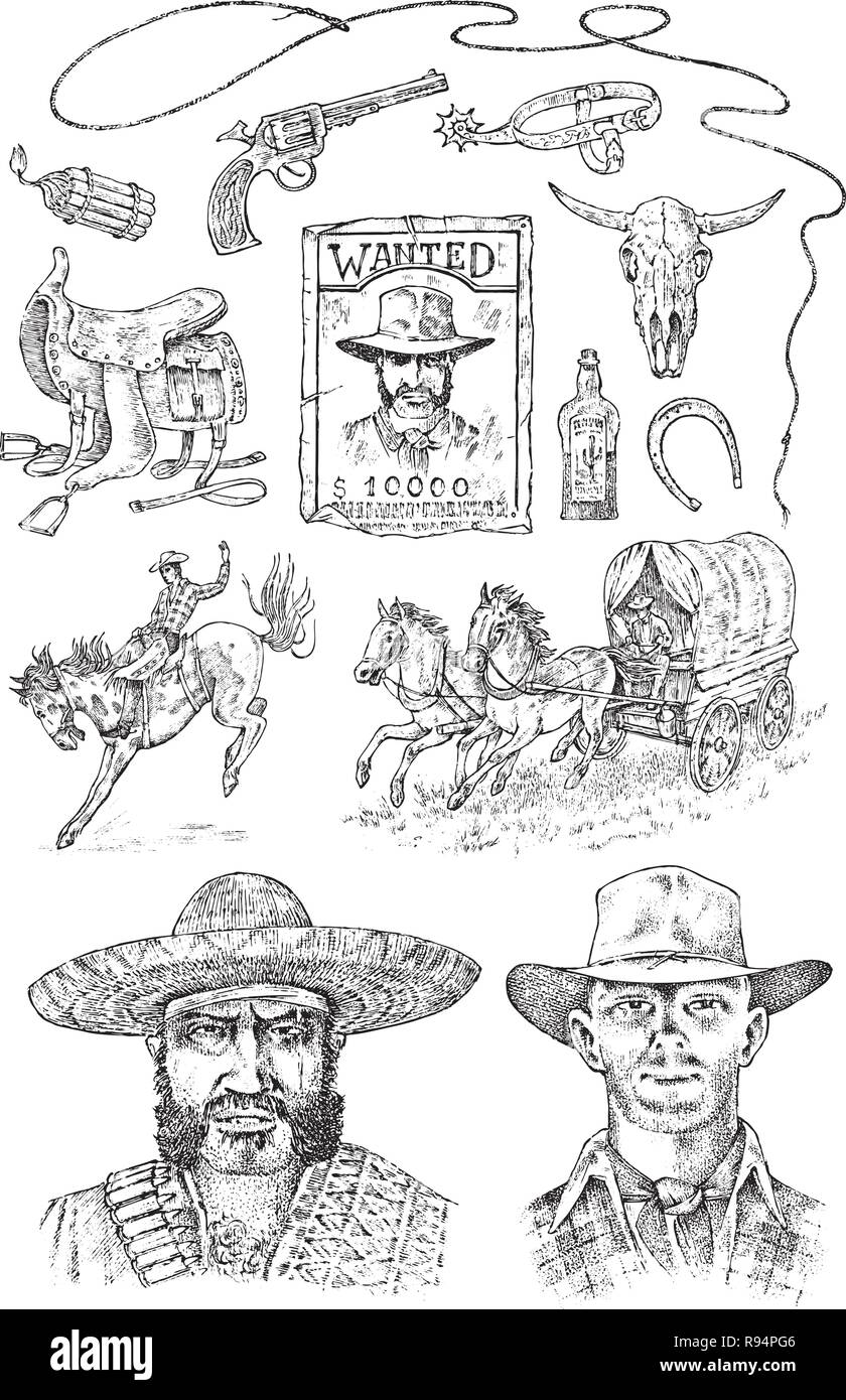 Juego de vaqueros. Iconos occidentales d5b8673f0c4