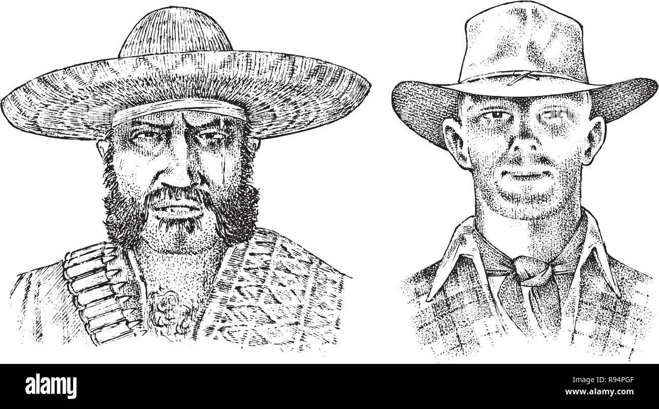 Cowboy cara cerca. El sheriff y el hombre en el sombrero Sombrero Mexicano.  Western rodeo icono c7e0318a458