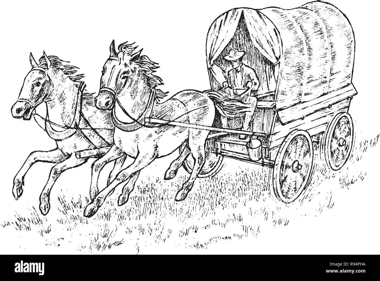 Cowboy en el carro. Vintage arnés de caballo o alguacil del carro. Western  rodeo 579871ef7e8