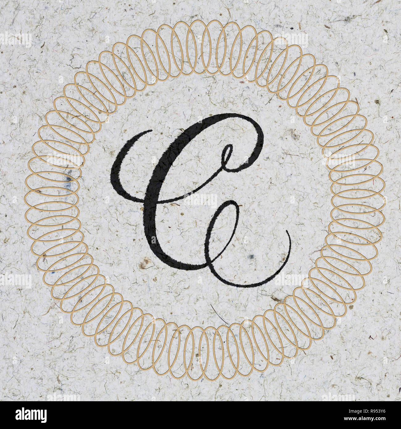99caf02d1f Letra C hand lettering monograma - tinta sobre papel kraft con ornamento  Imagen De Stock