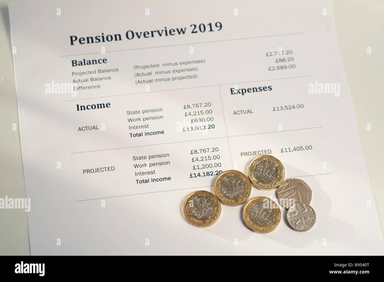 Aumento de pensiones estatales británicos de 4.25 por semana desde abril de 2019 Imagen De Stock