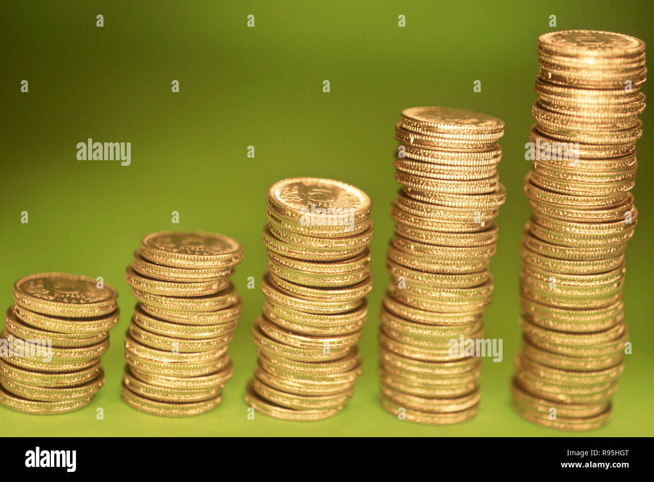 Concepto, monedas de plata, el crecimiento Imagen De Stock