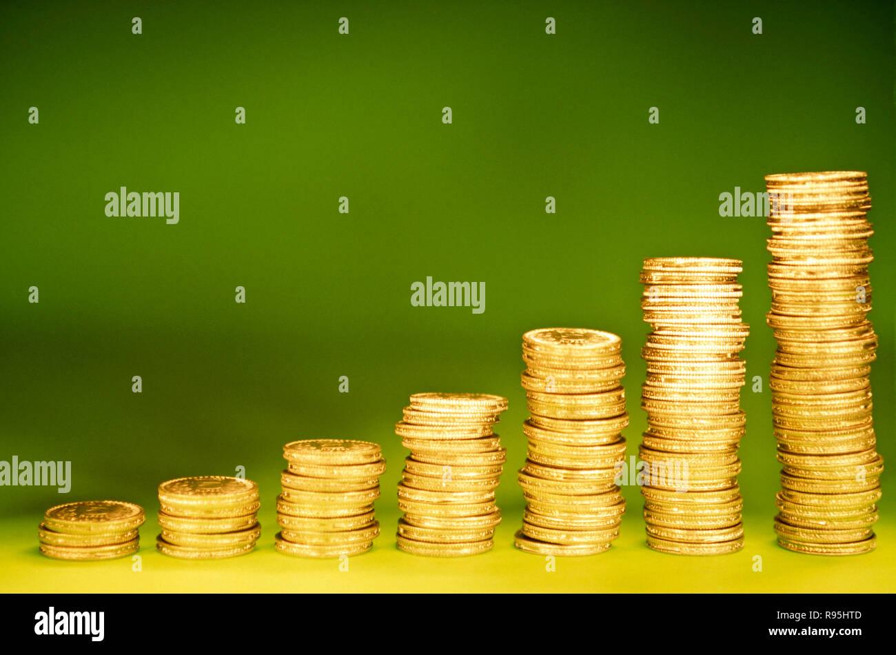 Concepto, crecimiento, monedas, india Imagen De Stock
