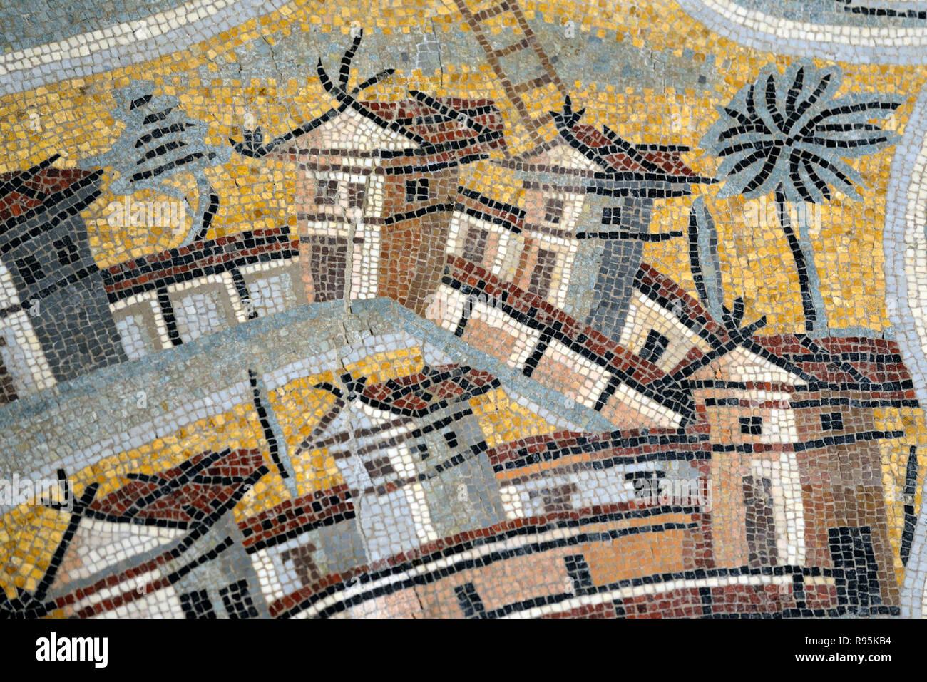 Piso de mosaico romano (c3rd-c4ª) de Rodas, mostrando los detalles de casas y arquitectura de la antigua ciudad romana de Ammaedara Haidra Túnez Imagen De Stock