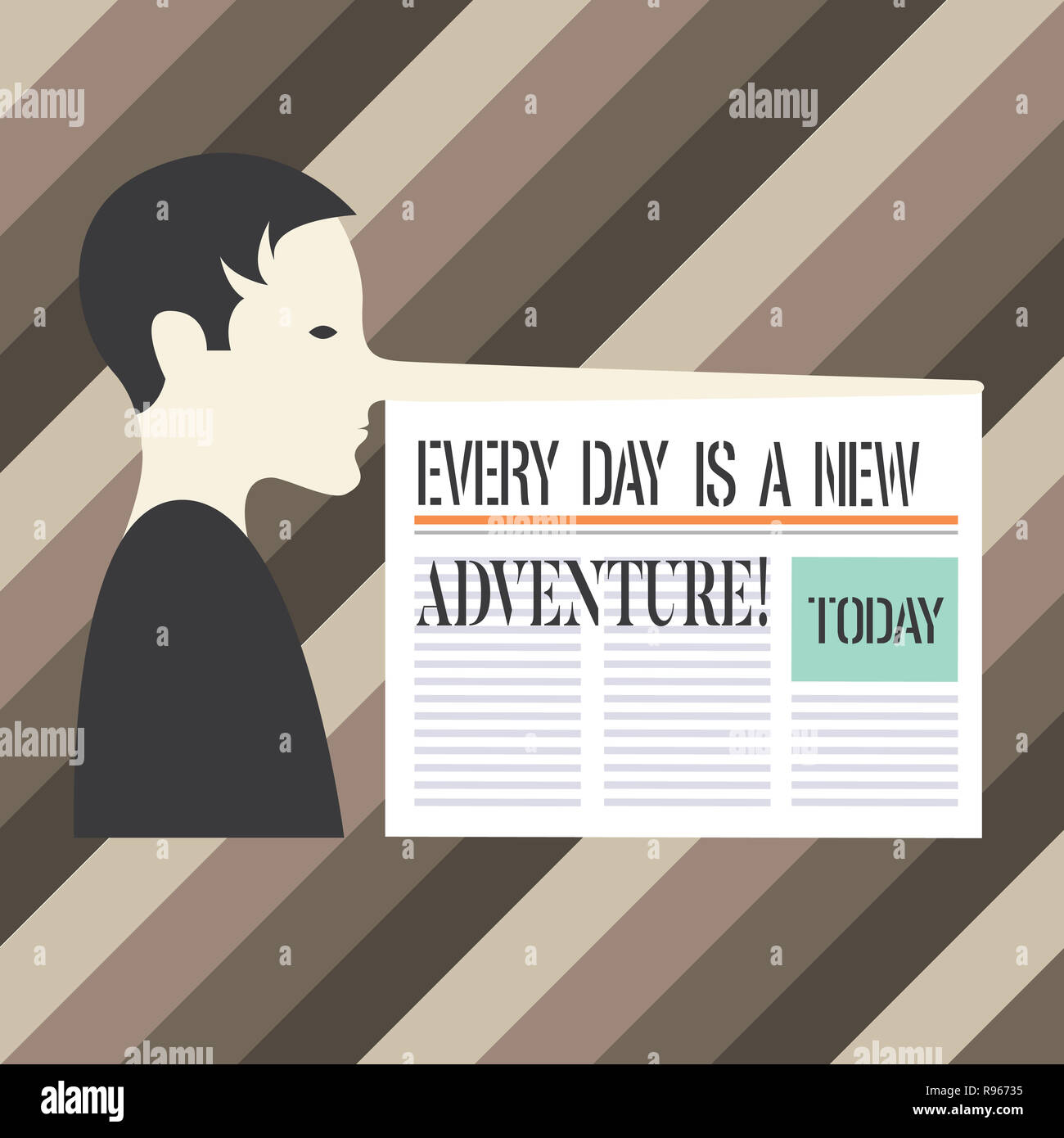 Escritura de texto escrito, cada día es una nueva aventura. Concepto Significado. Comience el día con positivismo motivación hombre con una nariz muy larga como Pinoc Imagen De Stock