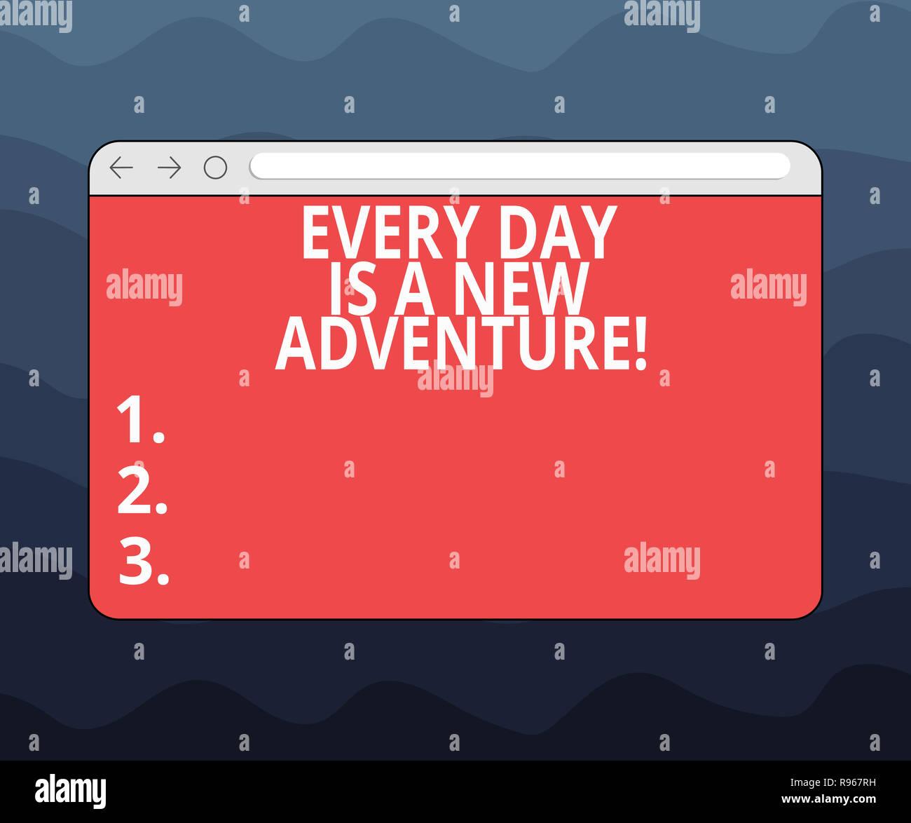 Escribir nota mostrando cada día es una nueva aventura. Exhibición fotográfica de negocios Comience su día con positivismo motivación Monitor con el progreso C Imagen De Stock