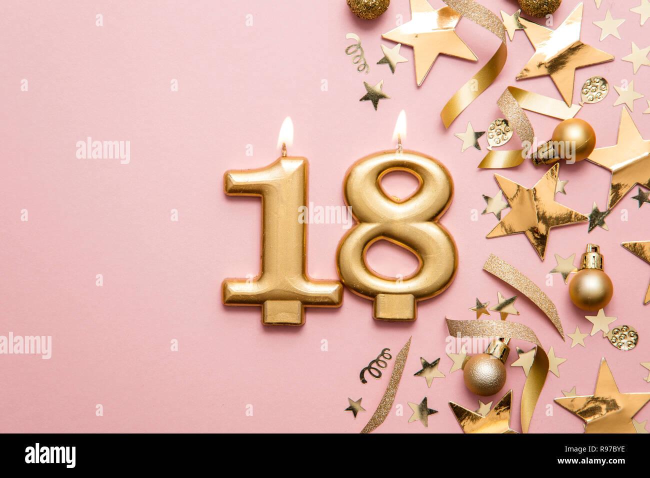 en reluciente Pink Vela de cumpleaños número 18