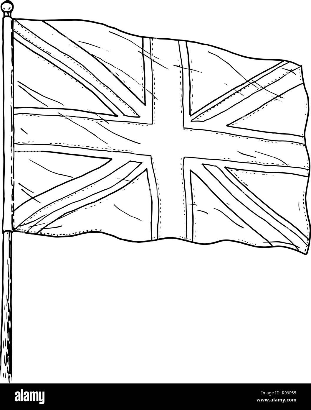 Bandera Del Reino Unido Dibujo Vintage Como Ilustración En Blanco