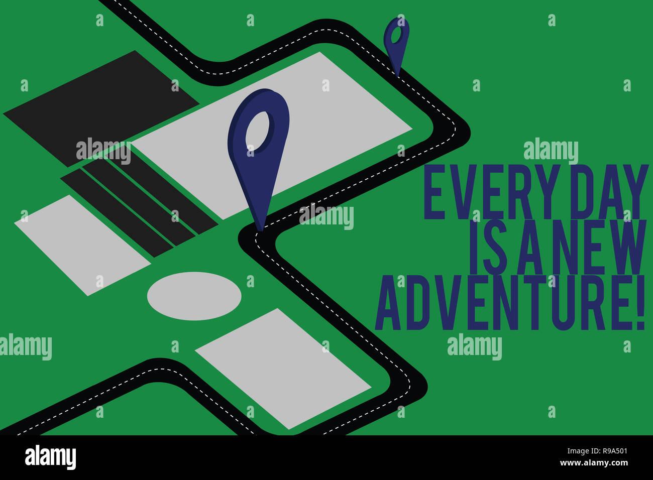 Signo de texto mostrando cada día es una nueva aventura. Fotografía conceptual. Comience el día con positivismo motivación Mapa de navegación 3D Marcador Pasador localizador Imagen De Stock