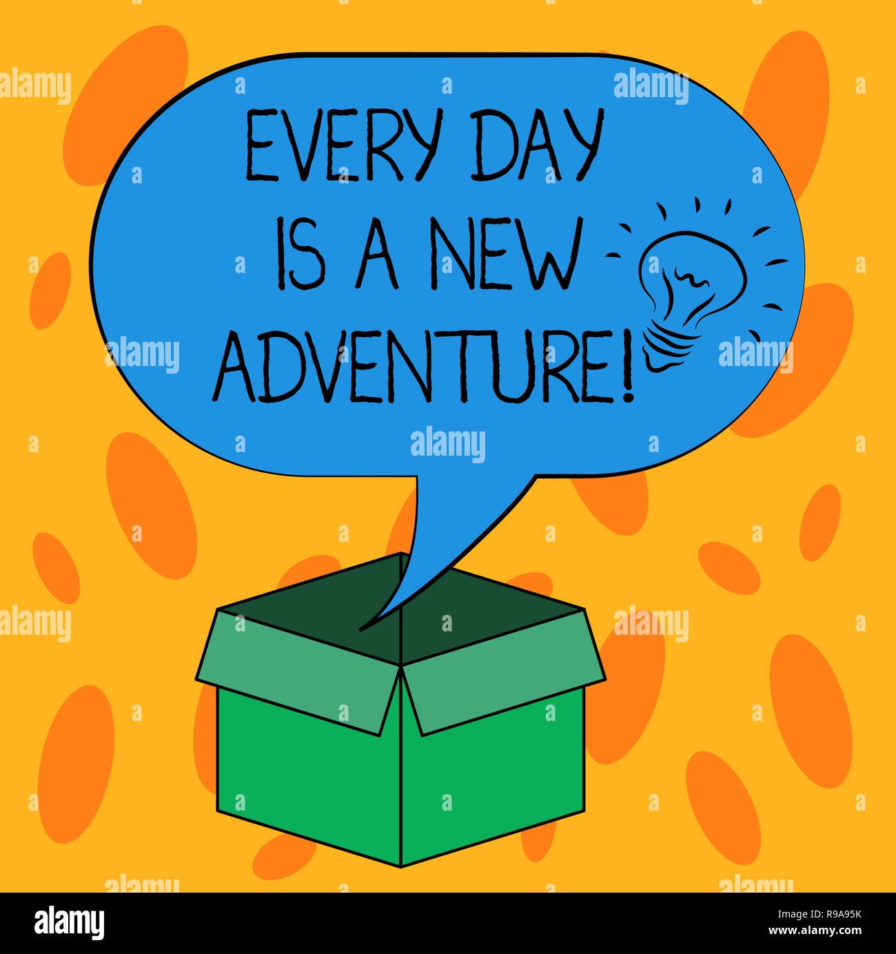 Escribir nota mostrando cada día es una nueva aventura. Exhibición fotográfica de negocios Comience su día con positivismo motivación Idea icono dentro de Halfton en blanco Imagen De Stock