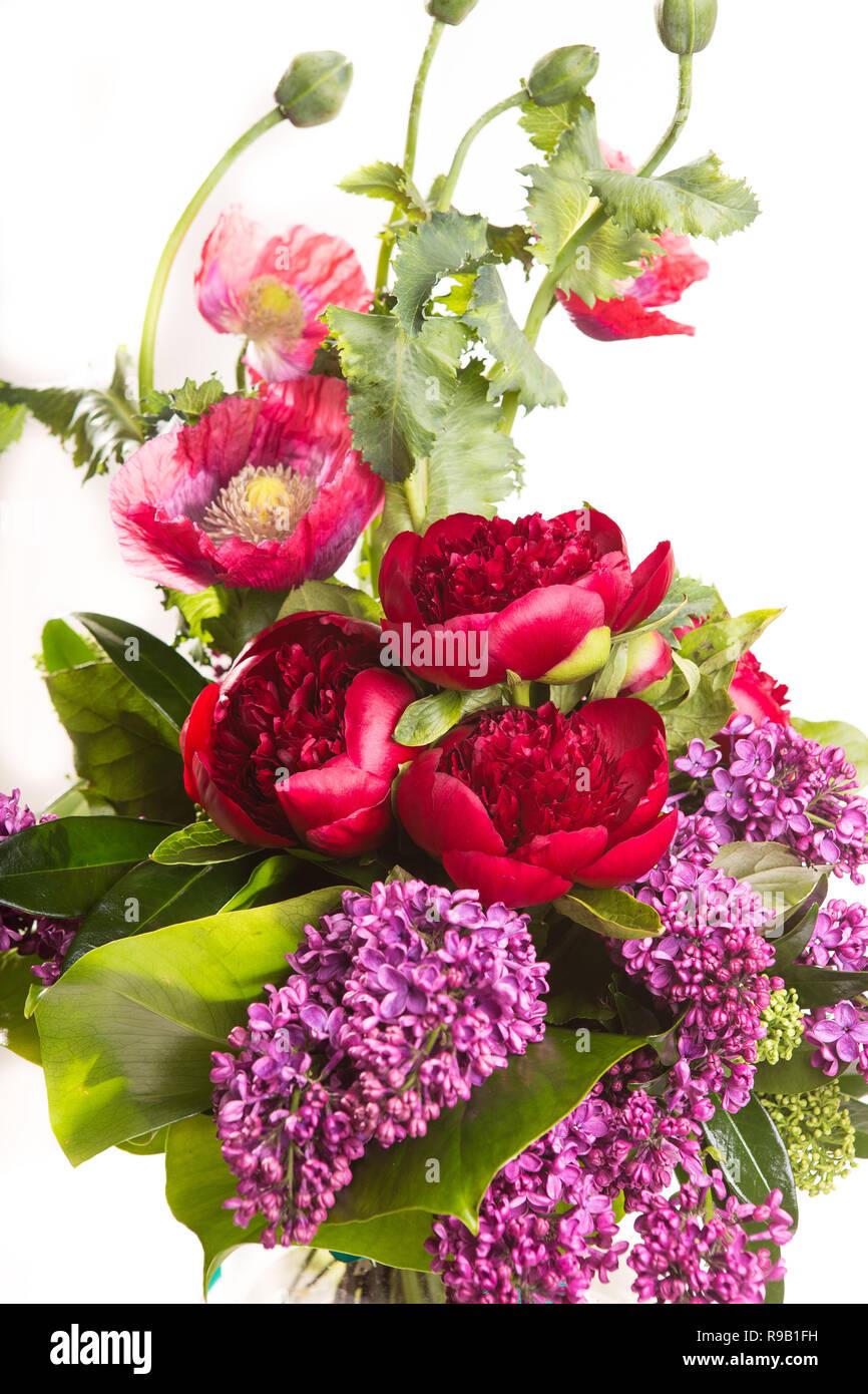 Gran Hermosa Y Exuberante Ramo De Flores Brillantes Amapolas