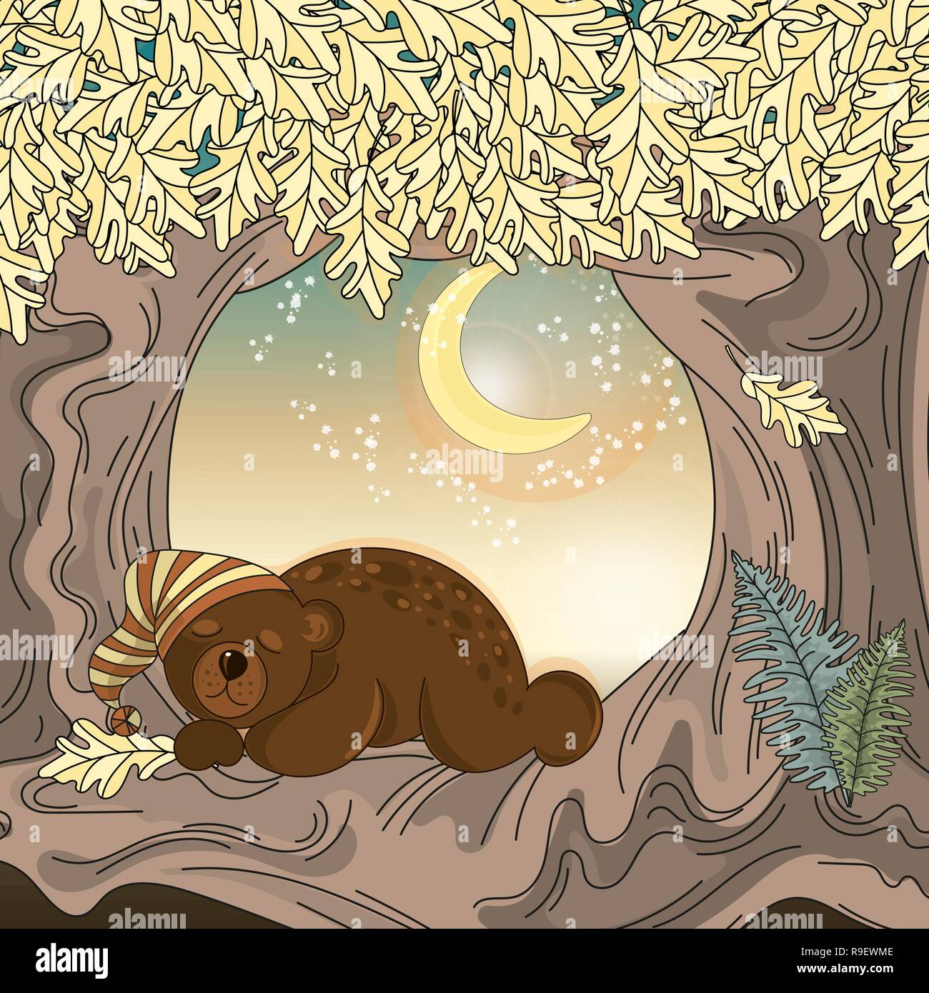 ab8e235f034 Conjunto Ilustración Vector Animal oso dormido para impresión ...