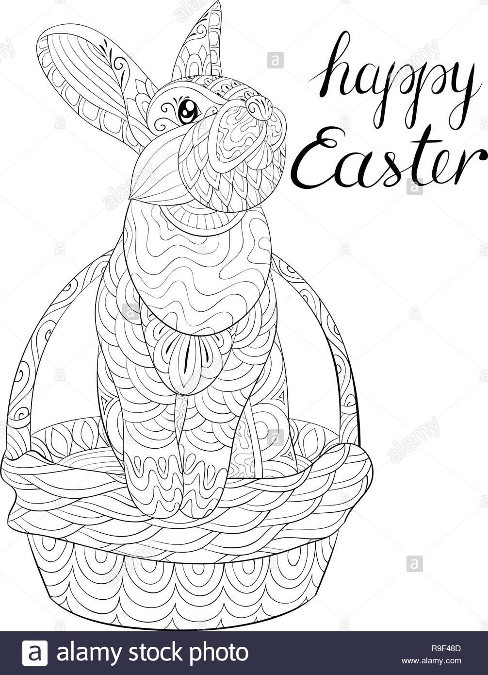 Un Lindo Conejito De Pascua En La Canasta Con Rotulación