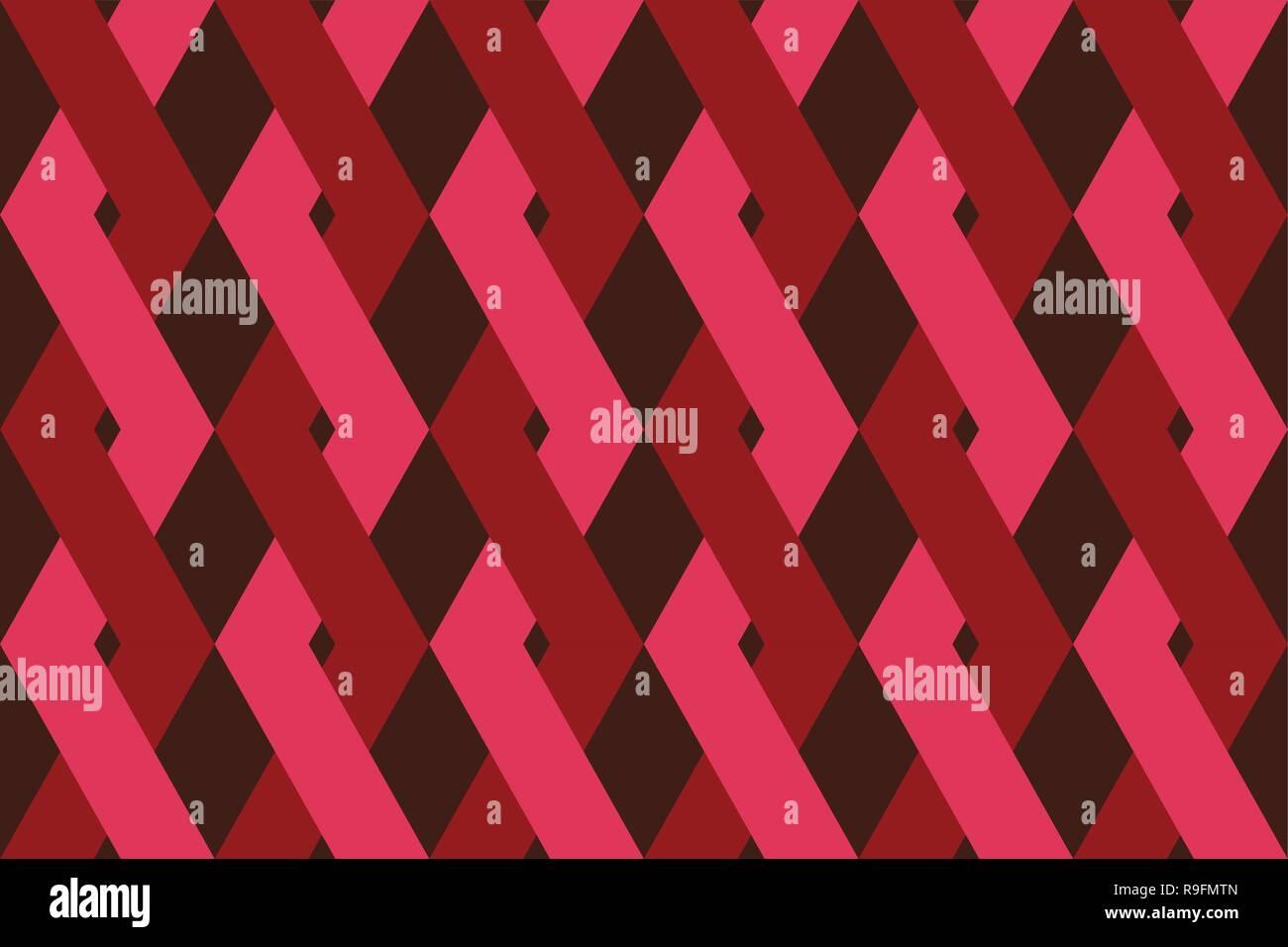 La trama de fondo abstracto, sin costuras hechas con entrelazados de formas geométricas en tonos de color rojo. Vector moderno art. Imagen De Stock