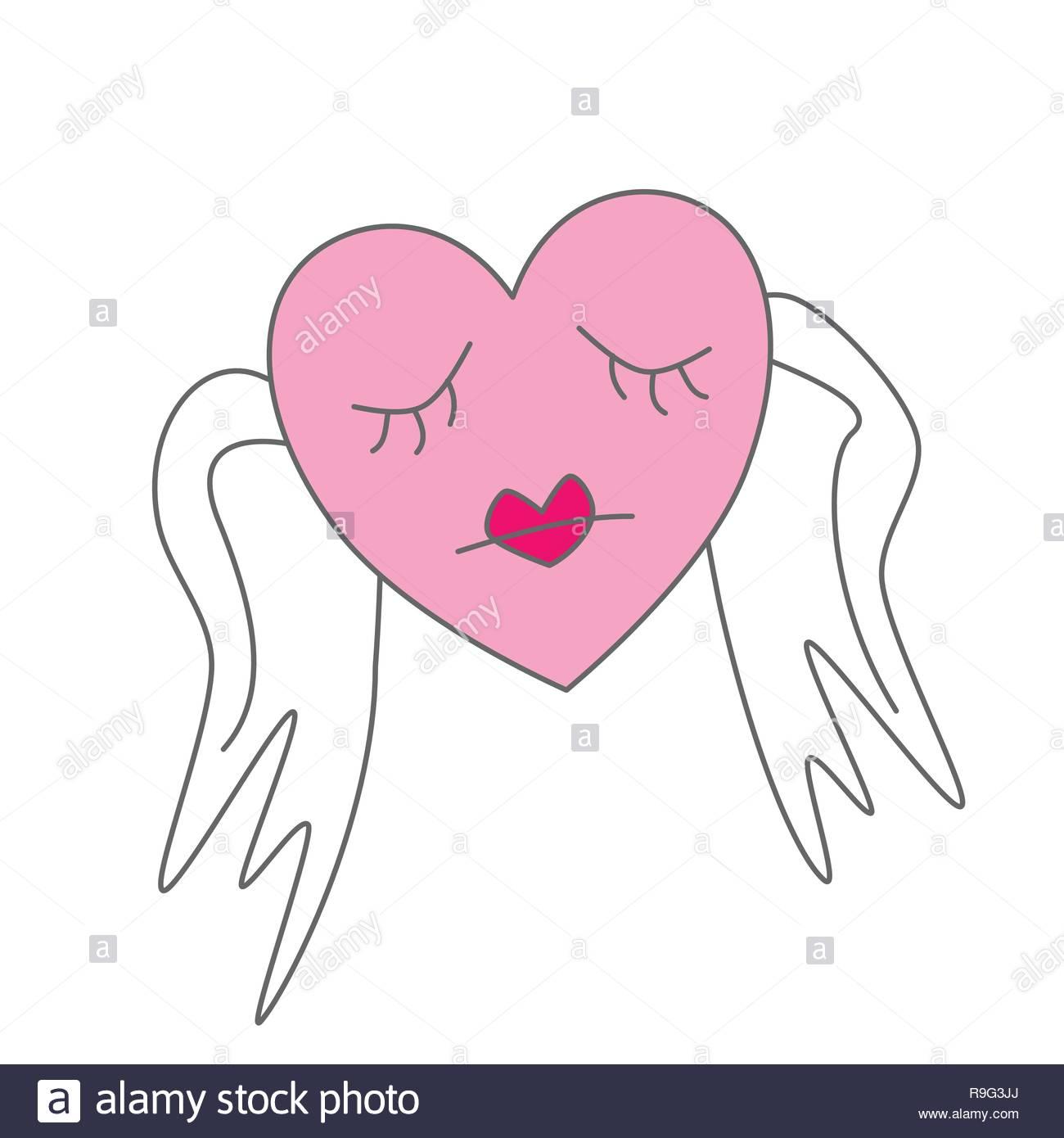 Triste Corazón Con Alas Símbolo De Dibujos Animados Ilustración Del