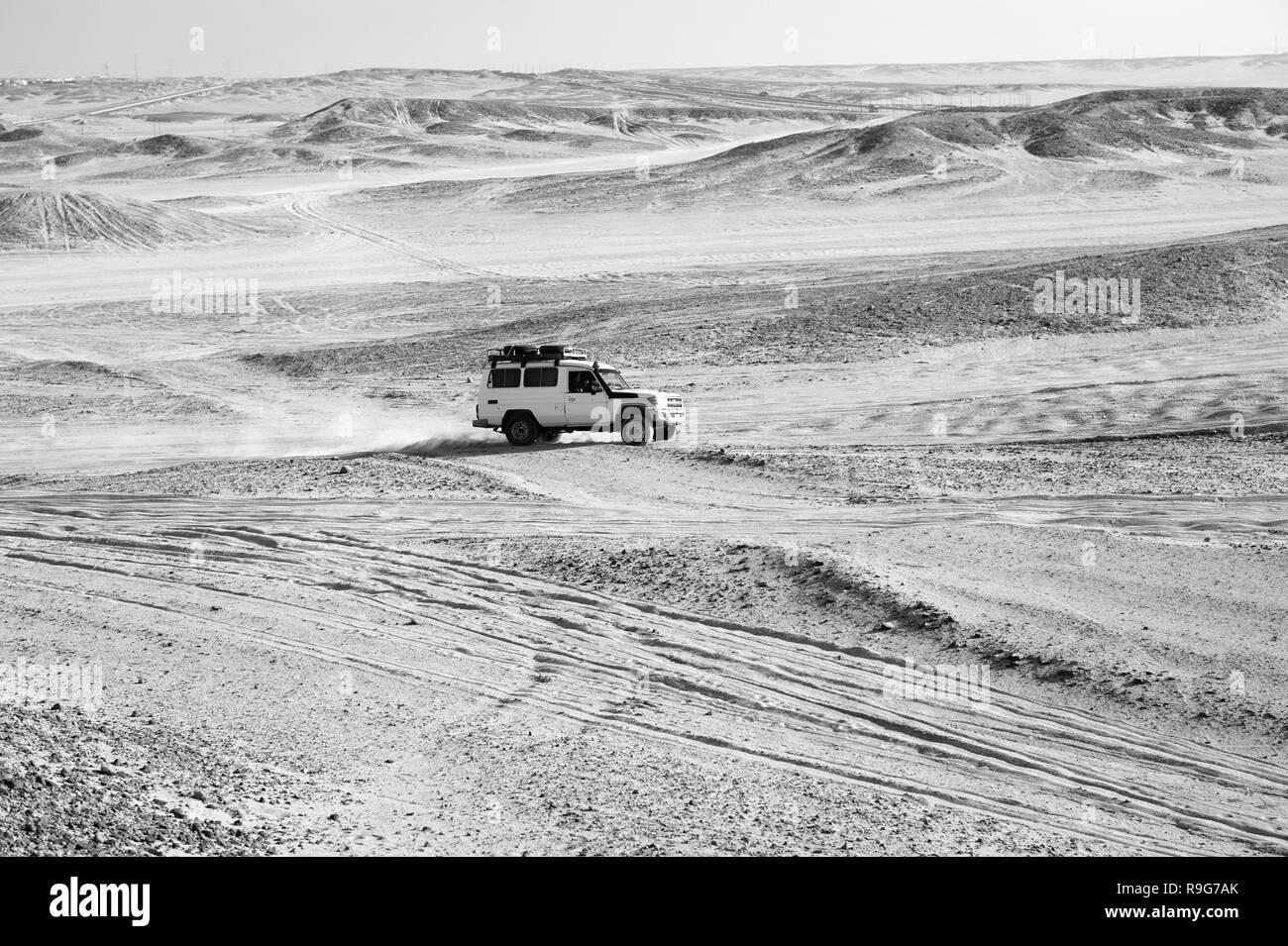 Carrera en un desierto de arena. Alquiler suv supera los obstáculos de las dunas de arena. Competiciones desafío desierto. Coche offroad con nubes de polvo. Vehículo offroad racing con obstáculos en el desierto. Imagen De Stock
