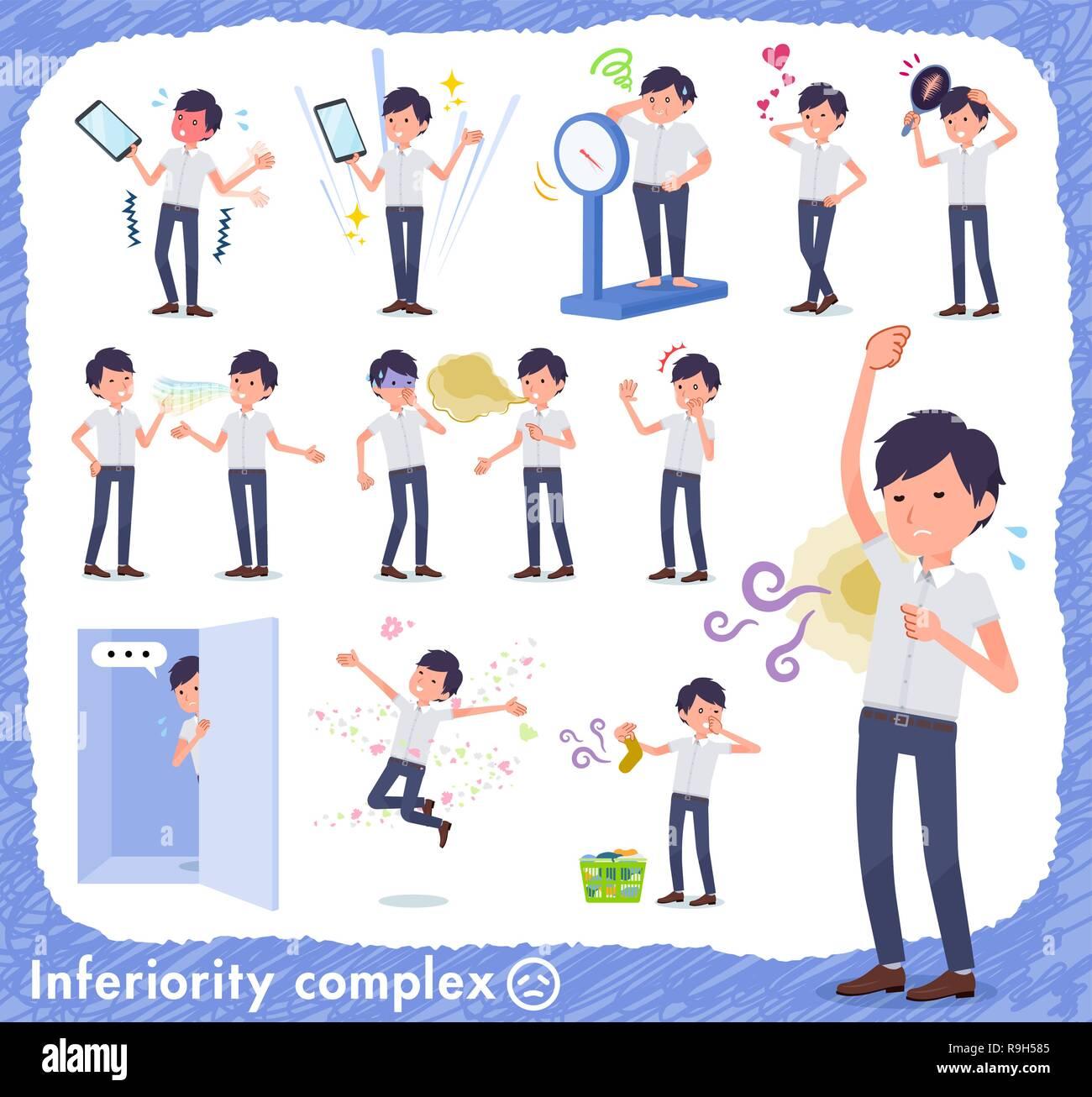 Un conjunto del empresario sobre el complejo de inferioridad.Hay acciones sufren de olor y aspecto.Es arte vectorial, así que es fácil de editar. Ilustración del Vector