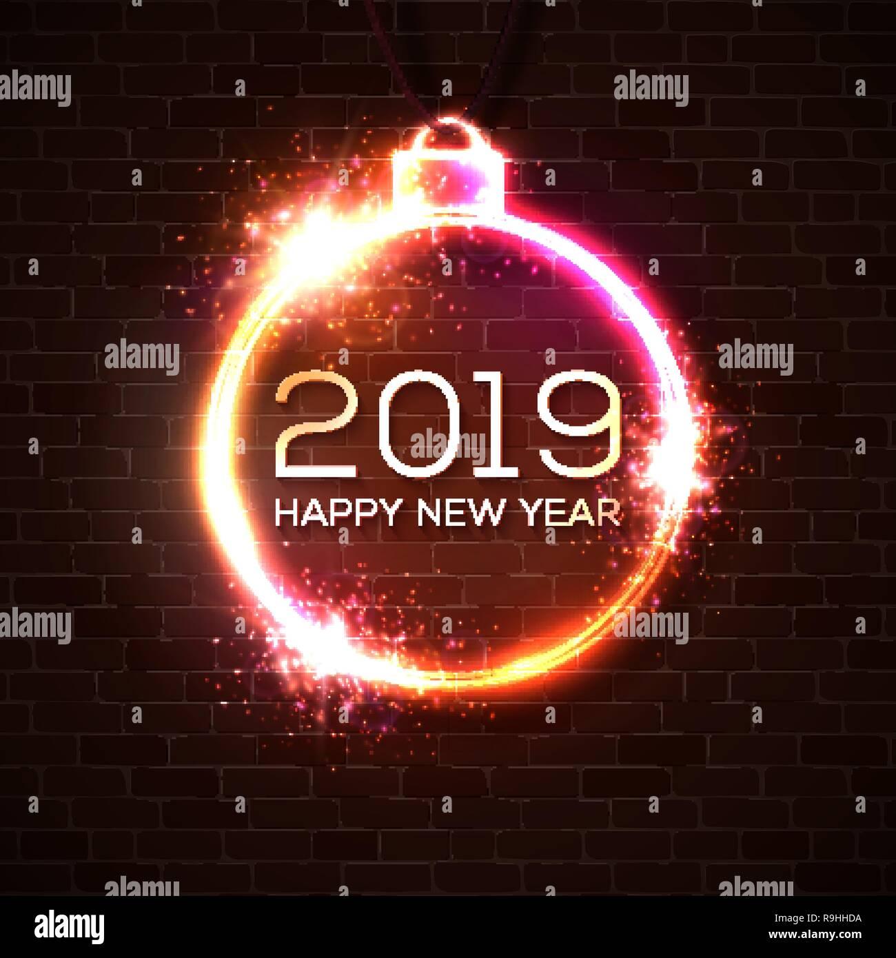 2019 Feliz Año Nuevo Tarjeta De Felicitación O Invitación