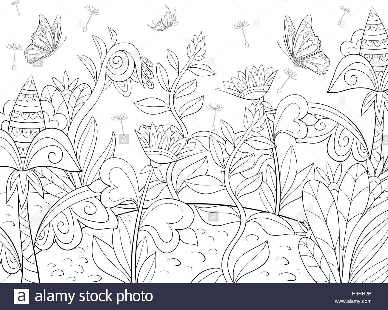 Un Paisaje Abstracto Con Mariposas Y Flores Imagen Para Actividad