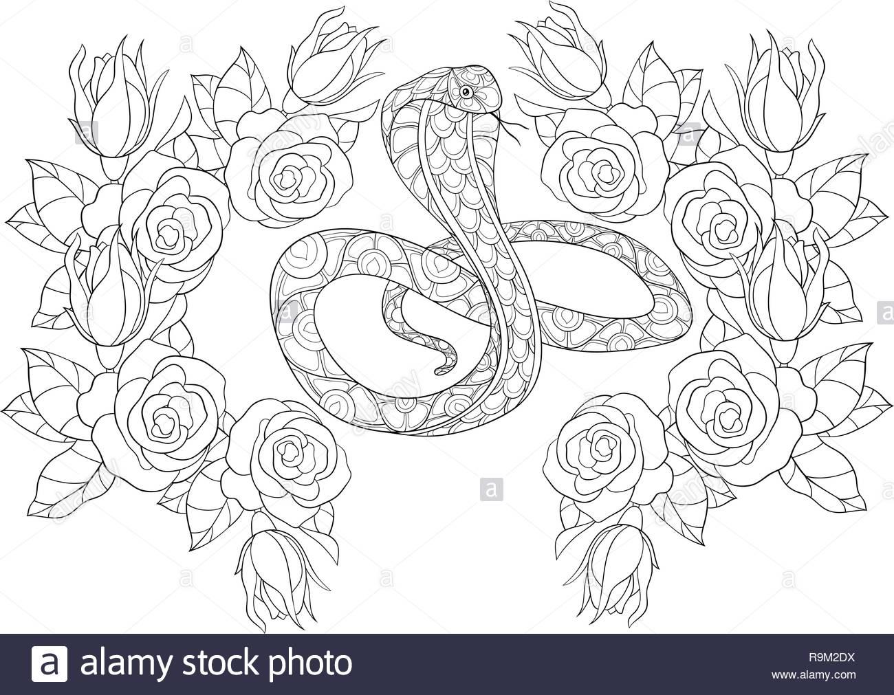 Una Linda Serpiente Con Ornamentos En Una Corona De Rosas Imagen