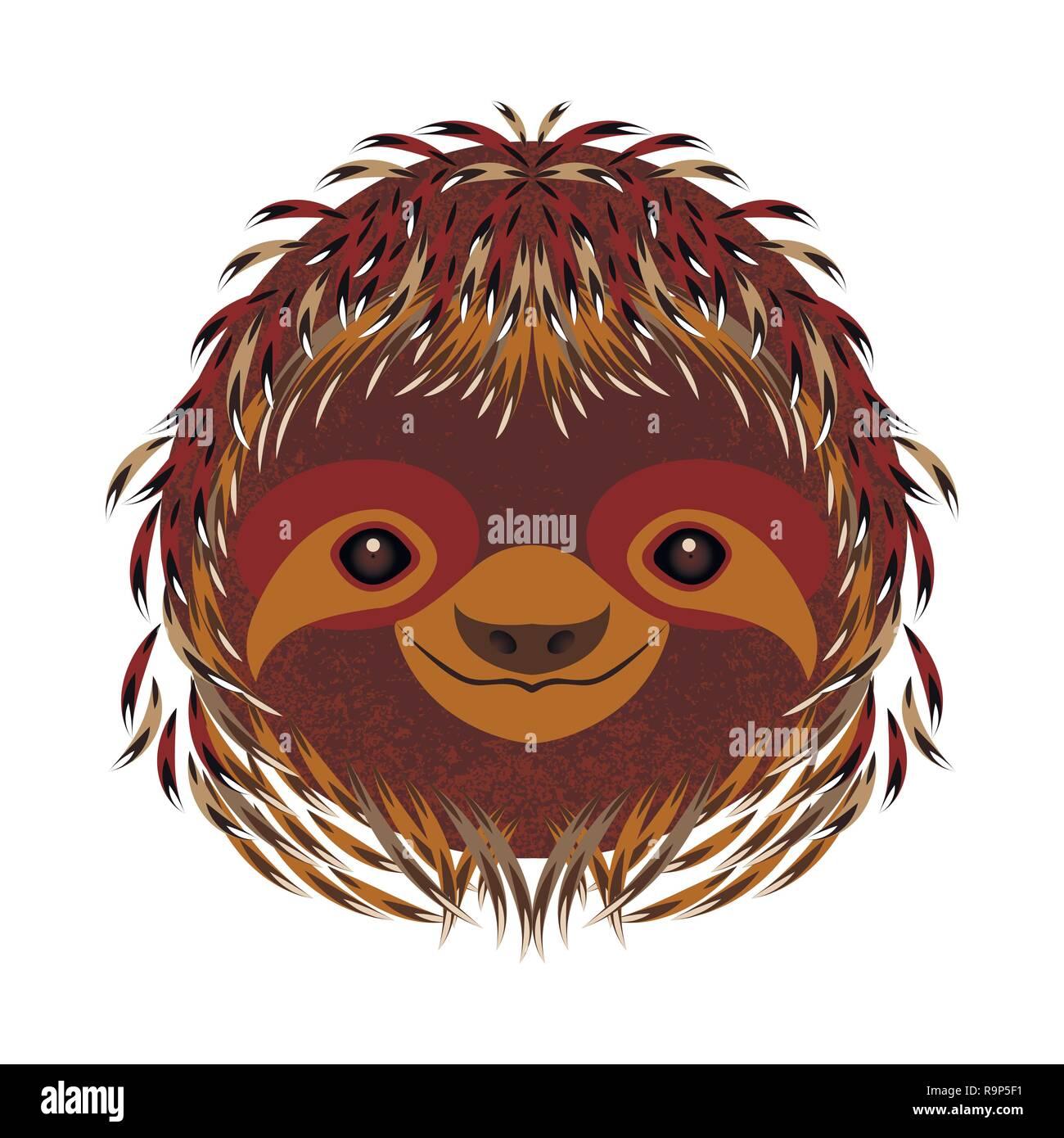 La pereza. La cara de la cabeza vertical. Pelaje marrón. Estilo de dibujos animados sonrisas Animal Ilustración del Vector