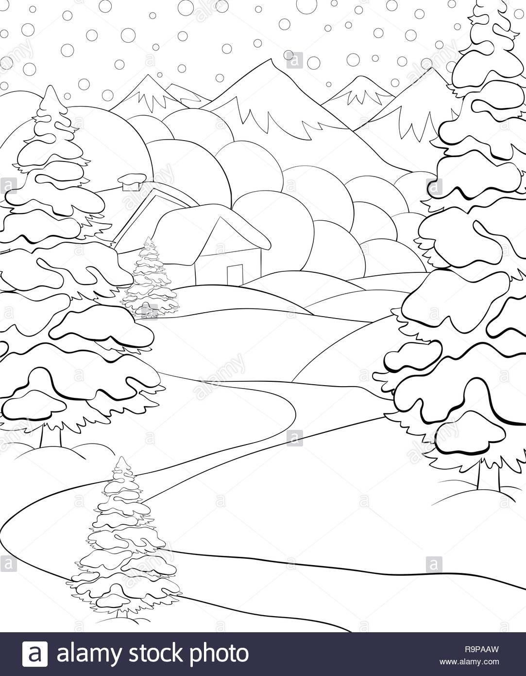 Un Paisaje De Invierno Con Nieve Montañasabetoscasa Y Roud Imagen