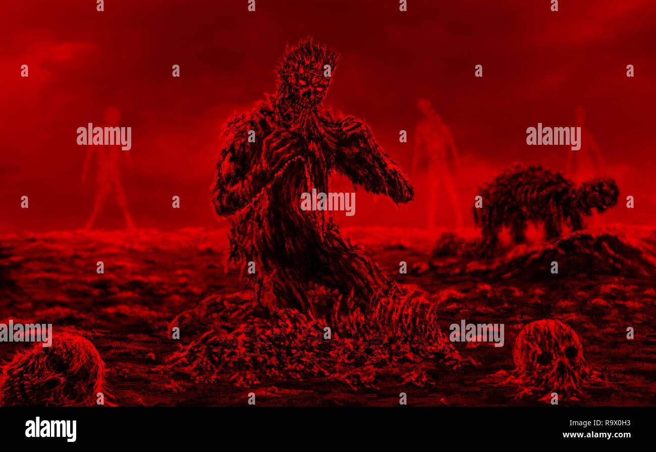 Miedo zombie se sienta y come sobre fondo rojo. Ilustración en el género de terror. Foto de stock