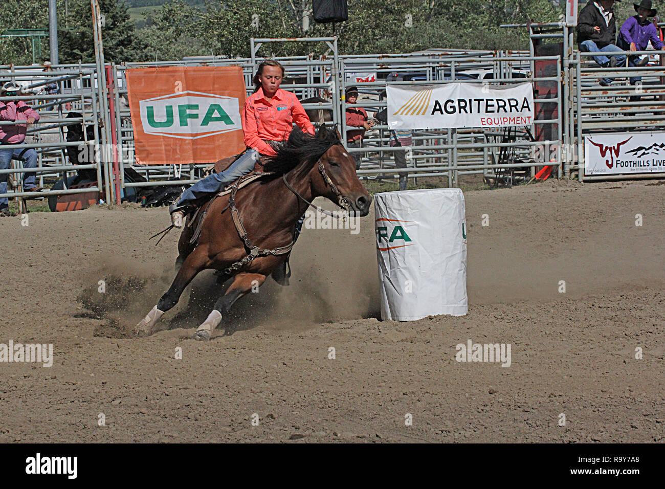 Rodeo, Stampede de Calgary, Alberta, Canadá, Barrel racing donde el jinete y su caballo competir en un evento programado rápido y furioso de la competencia. Imagen De Stock