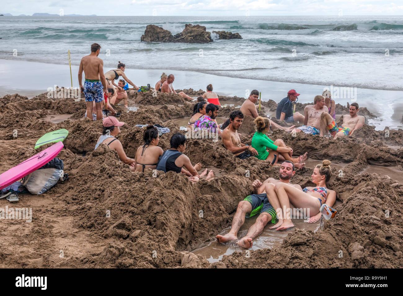 Playa de agua caliente, Waikato, península Coromandel, Isla del Norte, Nueva Zelanda Imagen De Stock