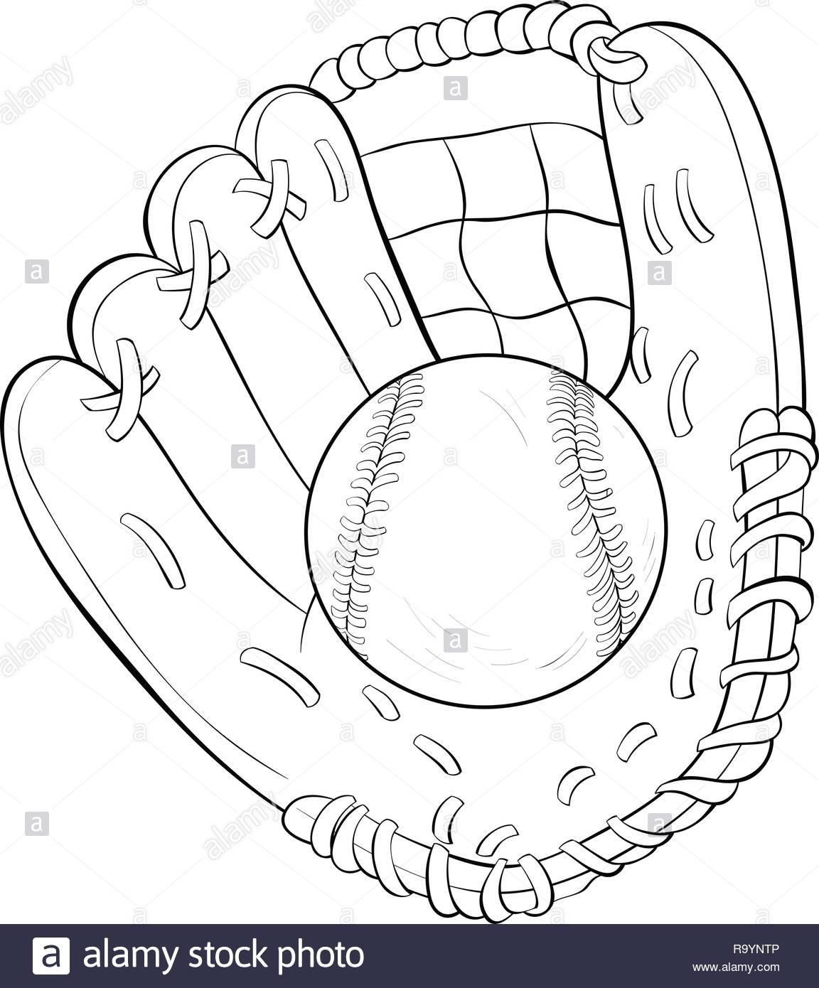 Un Guante De Beisbol De Dibujos Animados Y Una Imagen De La Pelota