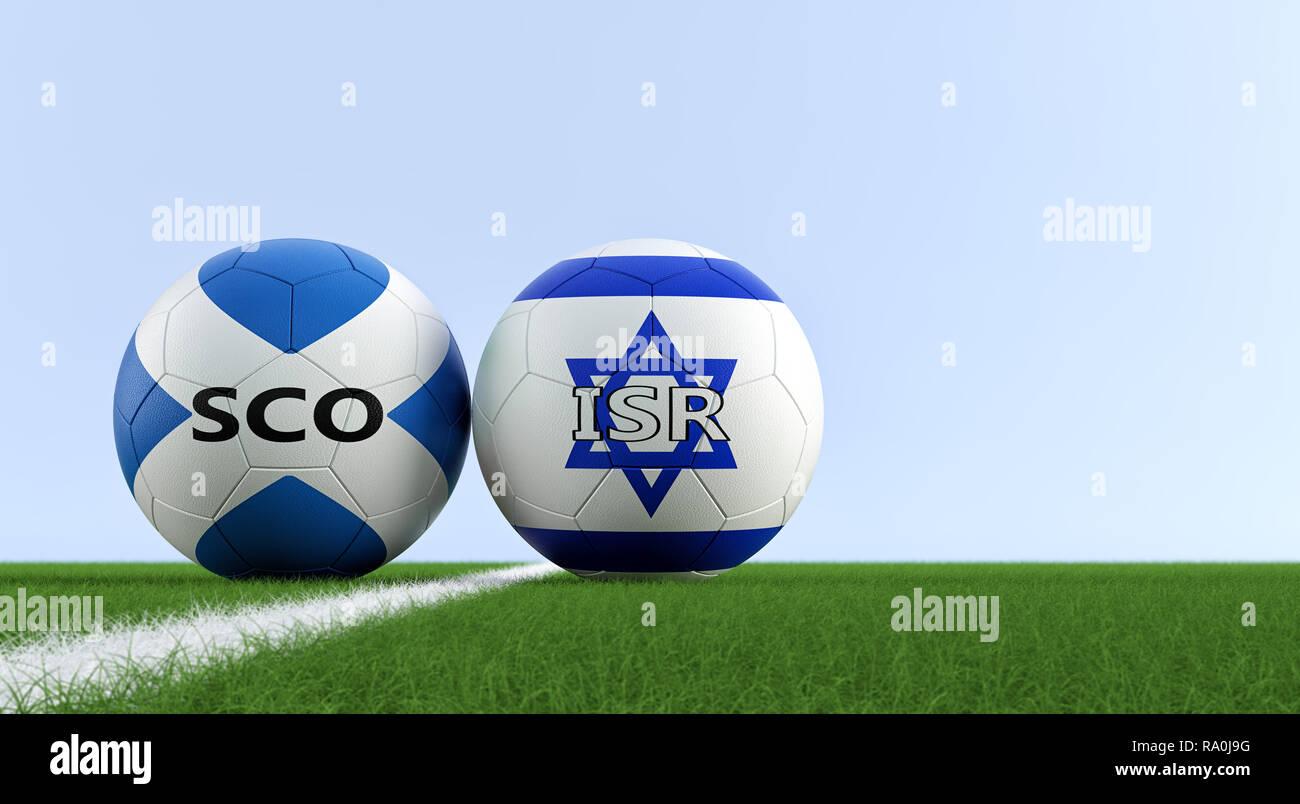 Escocia Fútbol - pelotas de fútbol en Israel y Escocia colores nacionales en a098122c02c8d