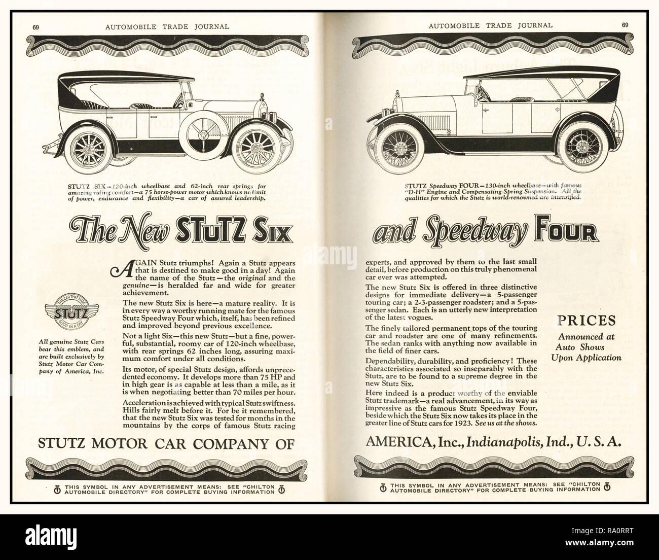 """Anuncio de prensa Archivo 1920 Stutz automóviles estadounidense 'el nuevo Stutz seis y cuatro Speedway' Stutz construyeron algunos de los más avanzados mecánicamente los automóviles de la época clásica. Anunciado como """"El coche que hizo bien en un día', refiriéndose a su primera exhibición en el 1911 Indianapolis 500; Stutz era increíblemente potente, rápido y elegante coche en la pista o en la carretera. Imagen De Stock"""
