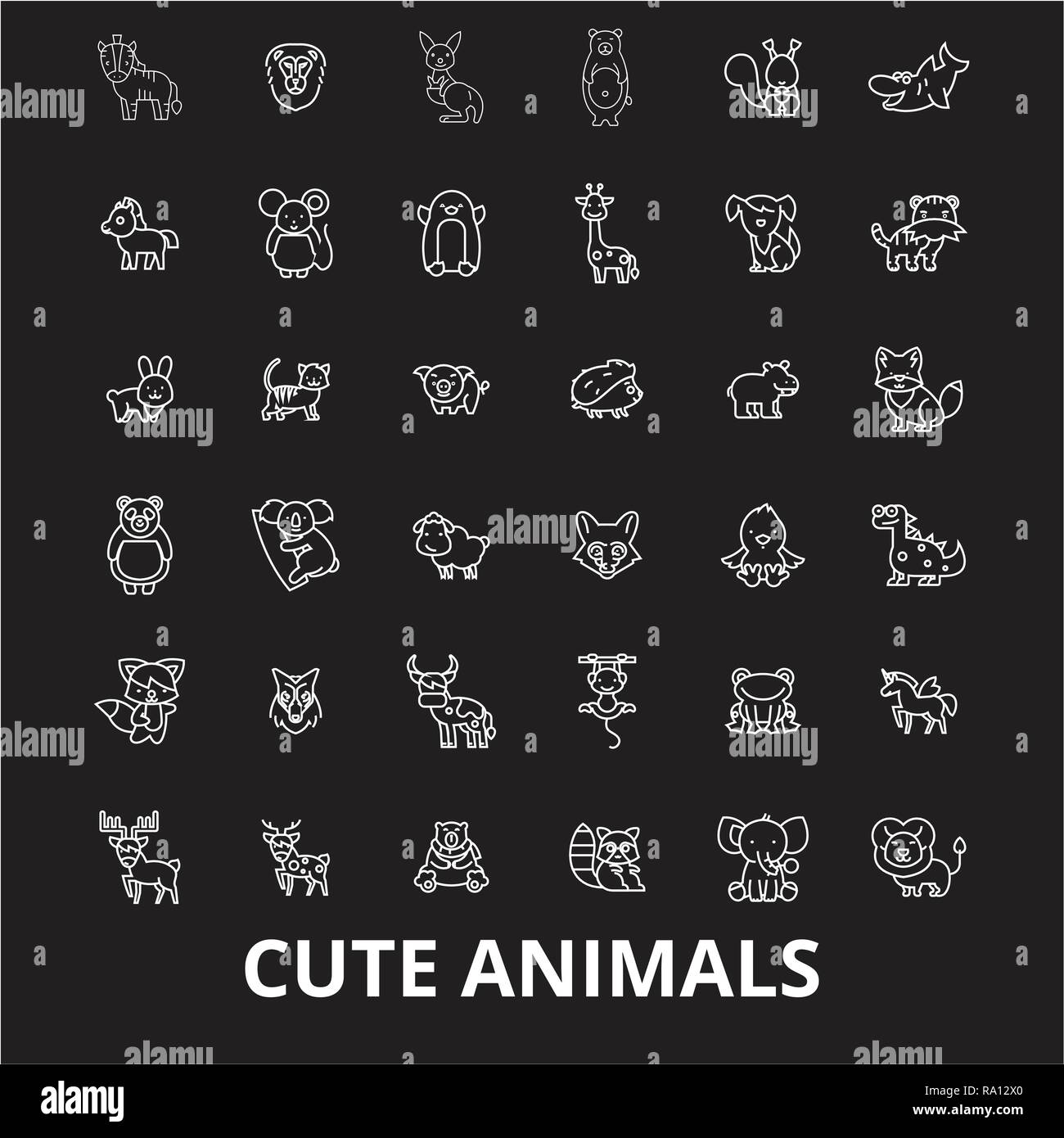 Bonitos Animales Línea Editable Vector Iconos Conjunto Sobre Fondo