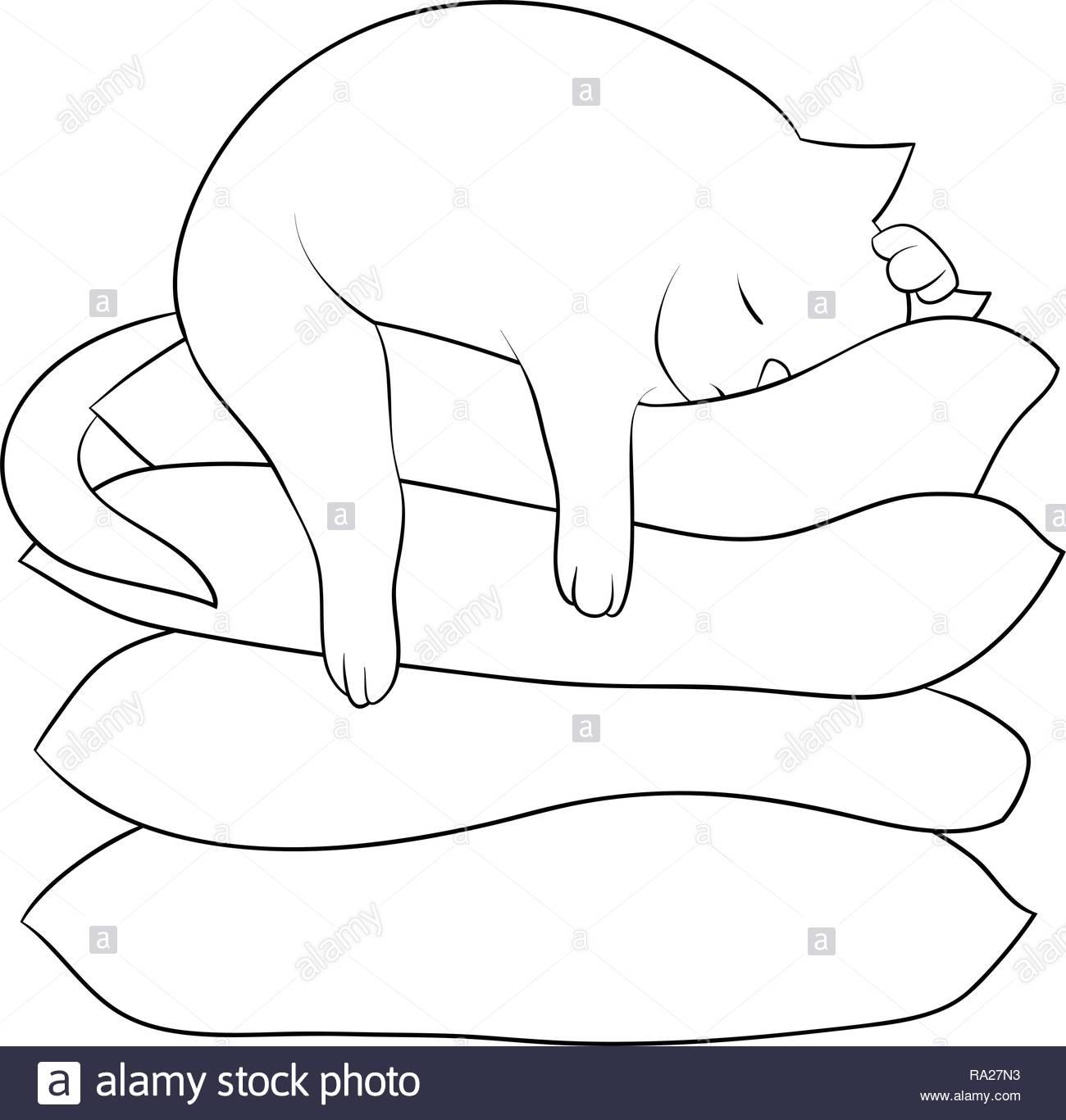 Sleeping Cat Cartoon Coloring Imágenes De Stock Sleeping Cat