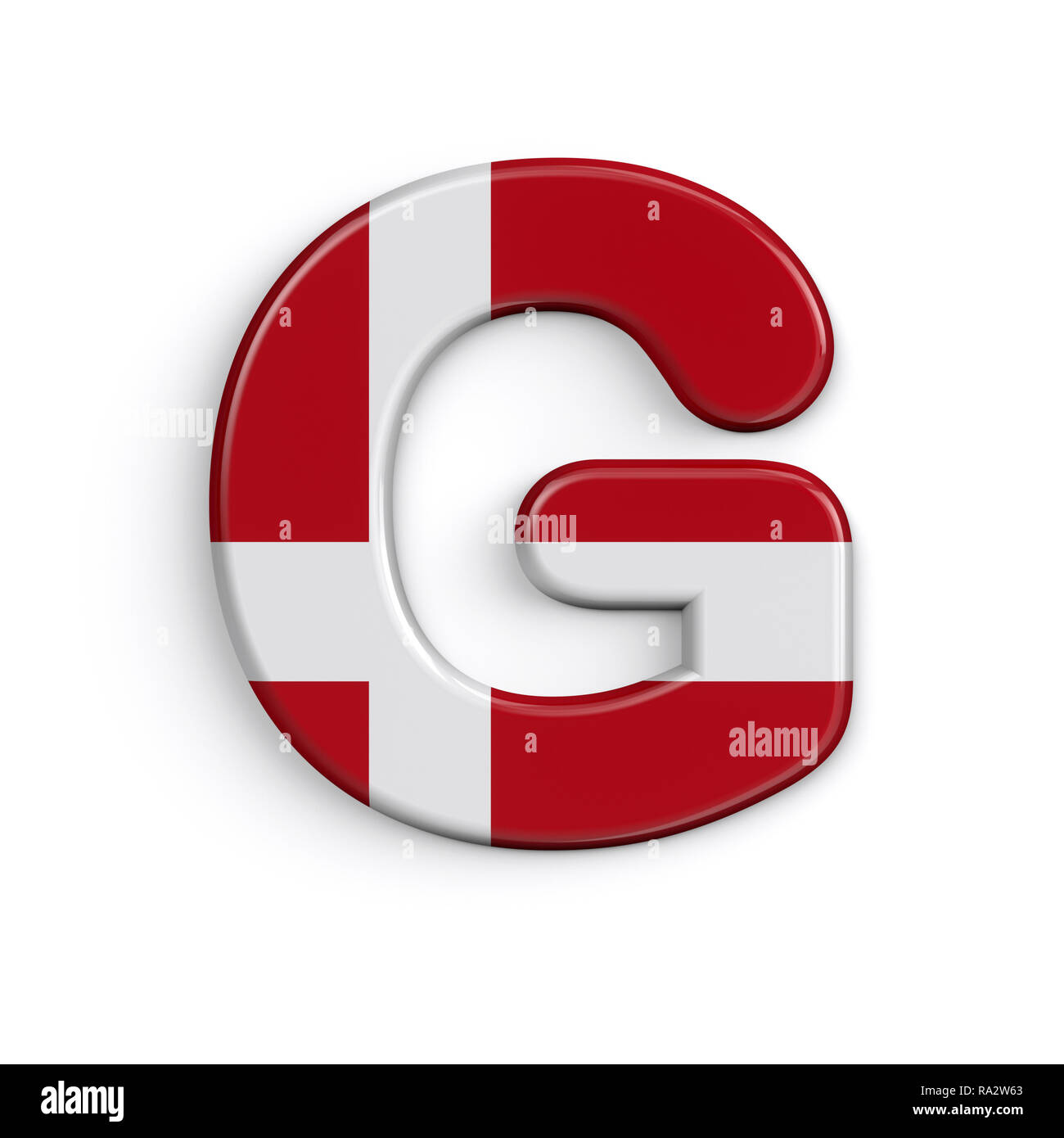 Dinamarca la letra G - 3d grande bandera danesa font aislado sobre fondo blanco. Este alfabeto es perfecto para creativos ilustraciones relacionadas pero no limitado Foto de stock