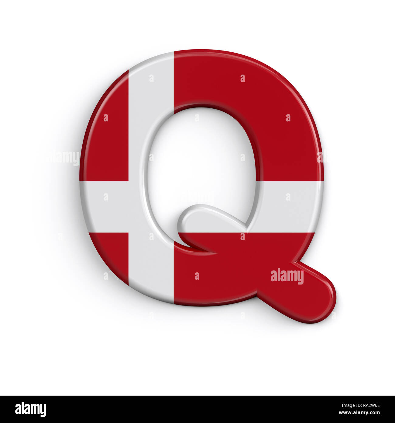 Dinamarca la letra Q - 3d grande bandera danesa font aislado sobre fondo blanco. Este alfabeto es perfecto para creativos ilustraciones relacionadas pero no limitado Foto de stock