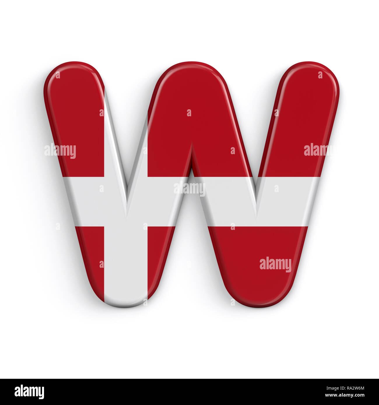Dinamarca - letra W mayúscula 3d bandera danesa font aislado sobre fondo blanco. Este alfabeto es perfecto para creativos ilustraciones relacionadas pero no lim Foto de stock