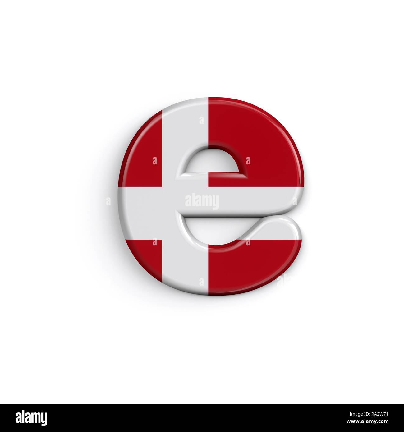 Dinamarca letra E - 3d minúscula bandera danesa font aislado sobre fondo blanco. Este alfabeto es perfecto para creativos ilustraciones relacionadas pero no lim Foto de stock