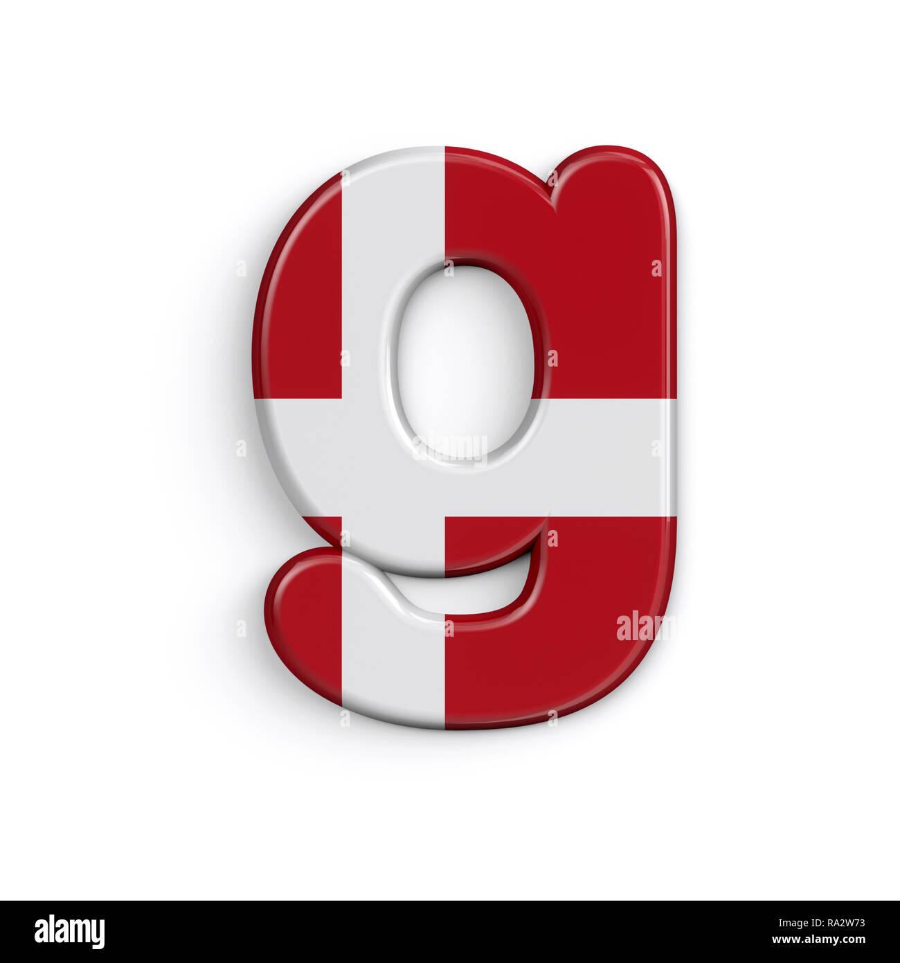 Dinamarca la letra G - 3d minúscula bandera danesa font aislado sobre fondo blanco. Este alfabeto es perfecto para creativos ilustraciones relacionadas pero no lim Foto de stock