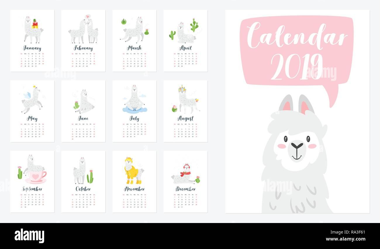 Calendario Mensual Imprimir.2019 Ano Calendario Mensual Con Lama Cartoon Plantilla Para
