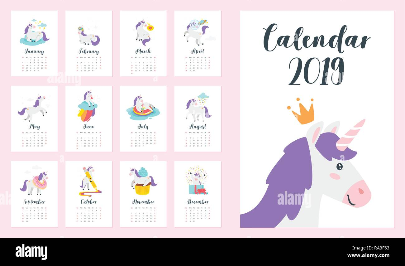 Calendario Mensual Imprimir.2019 Ano Calendario Mensual Con Unicornio Cartoon Plantilla Para