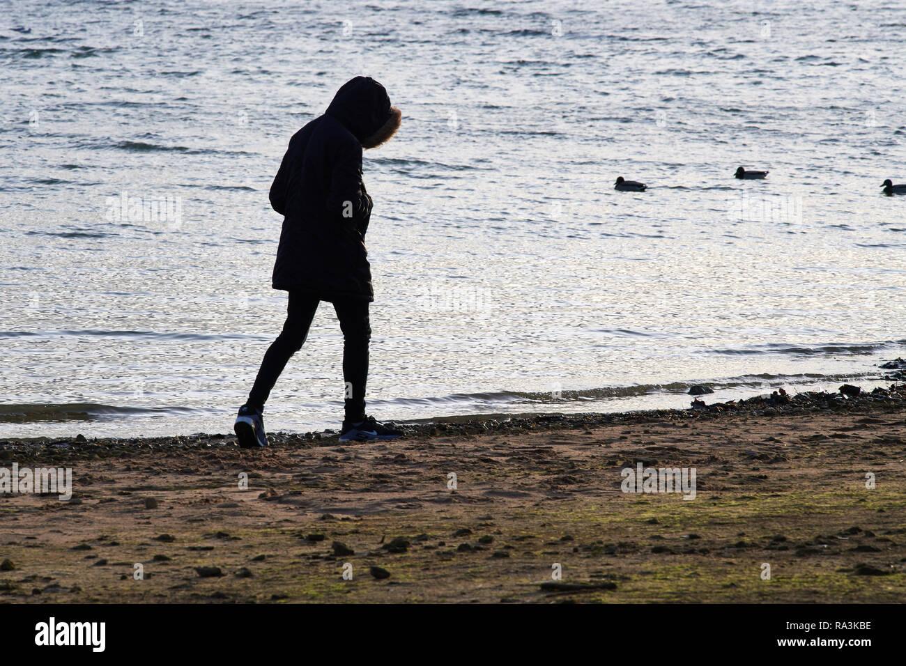 Una persona solitaria camina a lo largo de la orilla de un lago, con la cabeza inclinada y las manos bajas en el bolsillo en un frío día de invierno. Imagen De Stock
