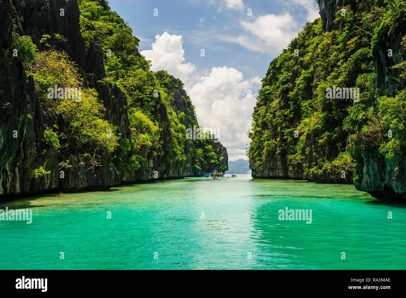 El agua cristalina entre las calizas en el archipiélago de Bacuit, Palawan, Filipinas Foto de stock