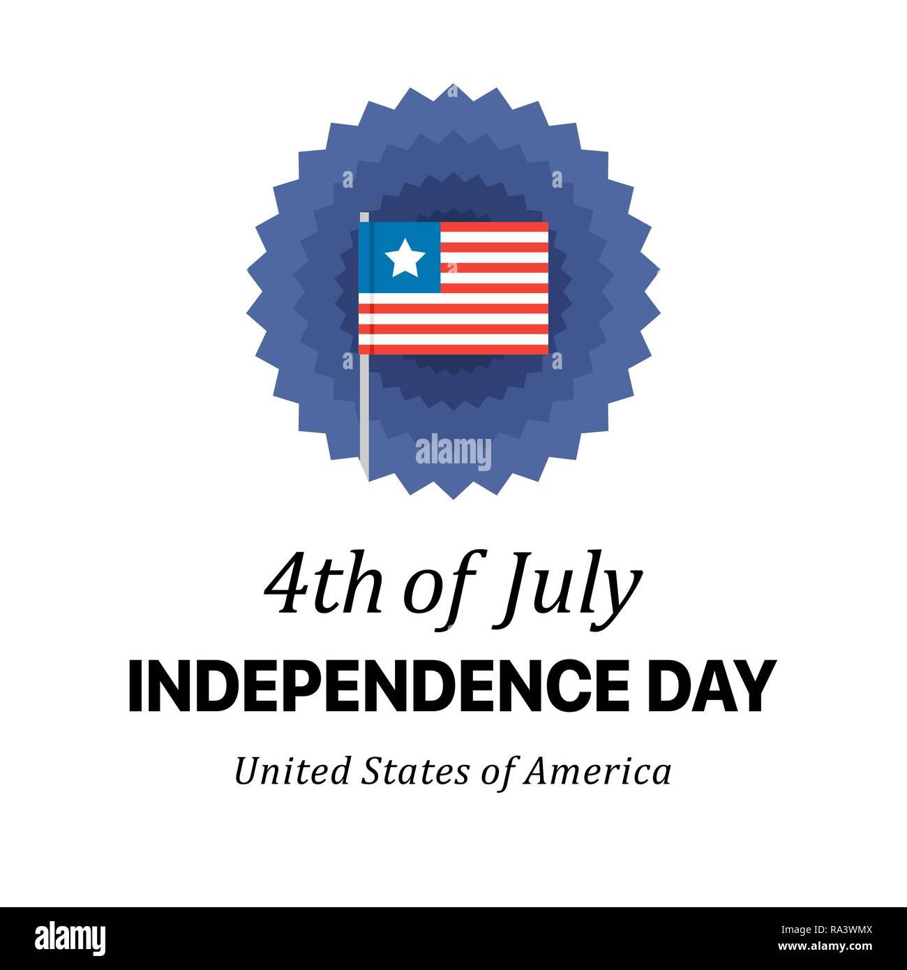 Día de la independencia vacaciones patriótico cartel. Piso 4 de julio ilustración vectorial Imagen De Stock