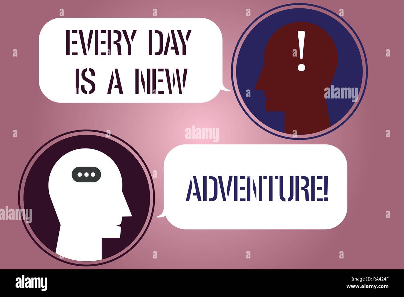 Escribir nota mostrando cada día es una nueva aventura. Exhibición fotográfica de negocios Comience su día con positivismo motivación Messenger Sala con cabezas de Chat Imagen De Stock