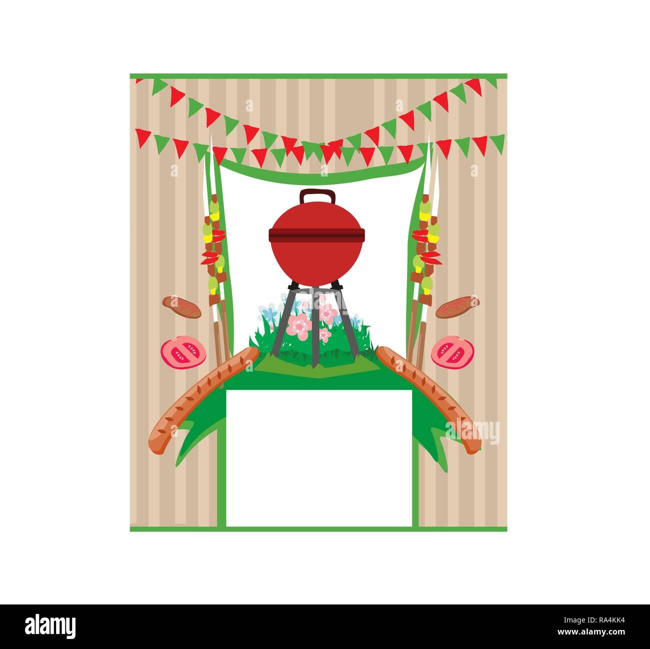 Parrillada Menú Invitación Tarjeta Ilustración Del Vector