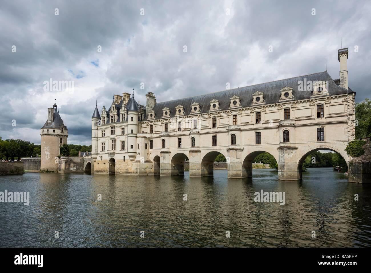 Castillo de Chenonceau el Cher, el Château de Chenonceau, Departamento Chenonceaux, Indre-et-Loire, Región Centro, Francia Imagen De Stock