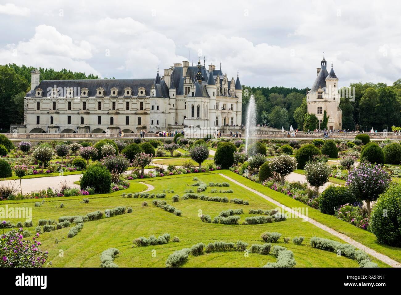 Castillo de Chenonceau y jardín, Château de Chenonceau, Chenonceaux, departamento de Loira, Indre-et-Loire, Región Centro, Francia Imagen De Stock