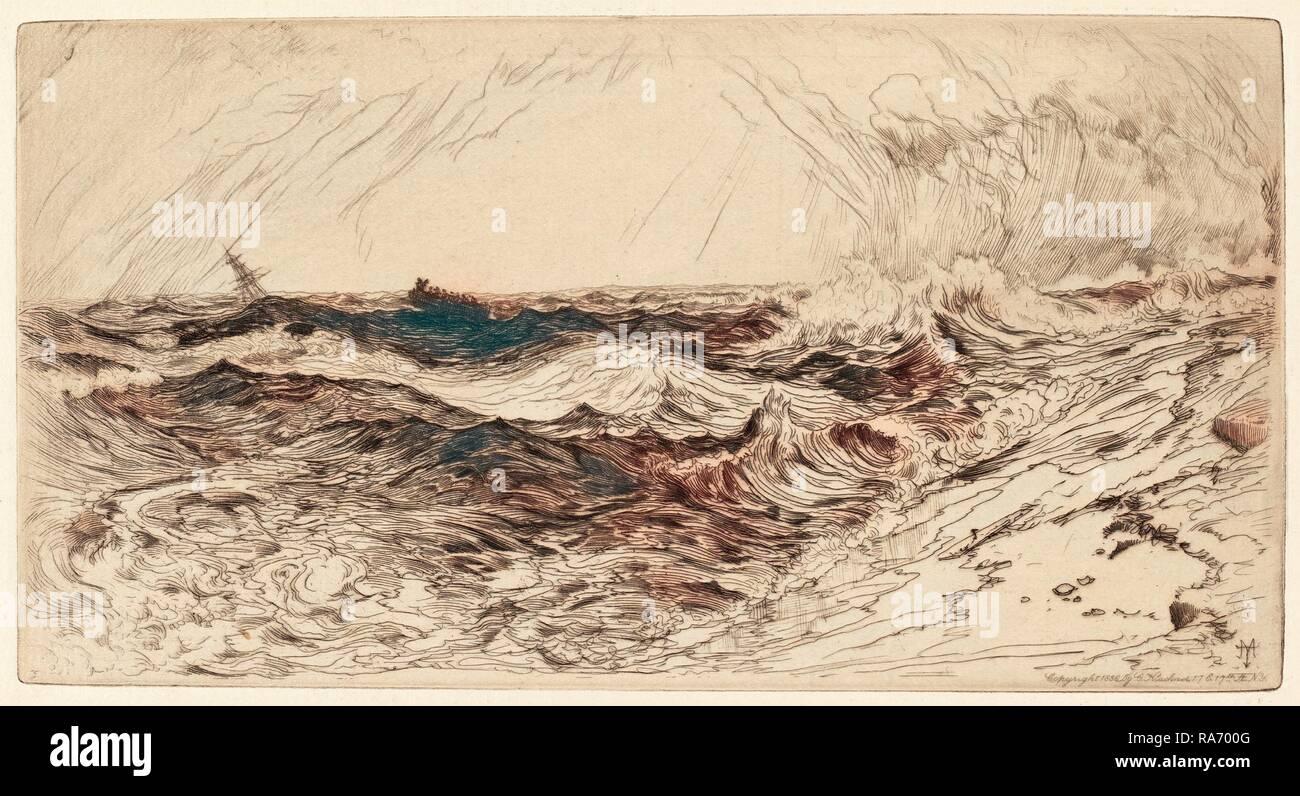 Thomas Moran, el resonante Mar, Americana, 1837 - 1926, 1886, grabado . Reimagined by Gibon. Arte clásico con un reinventado Imagen De Stock