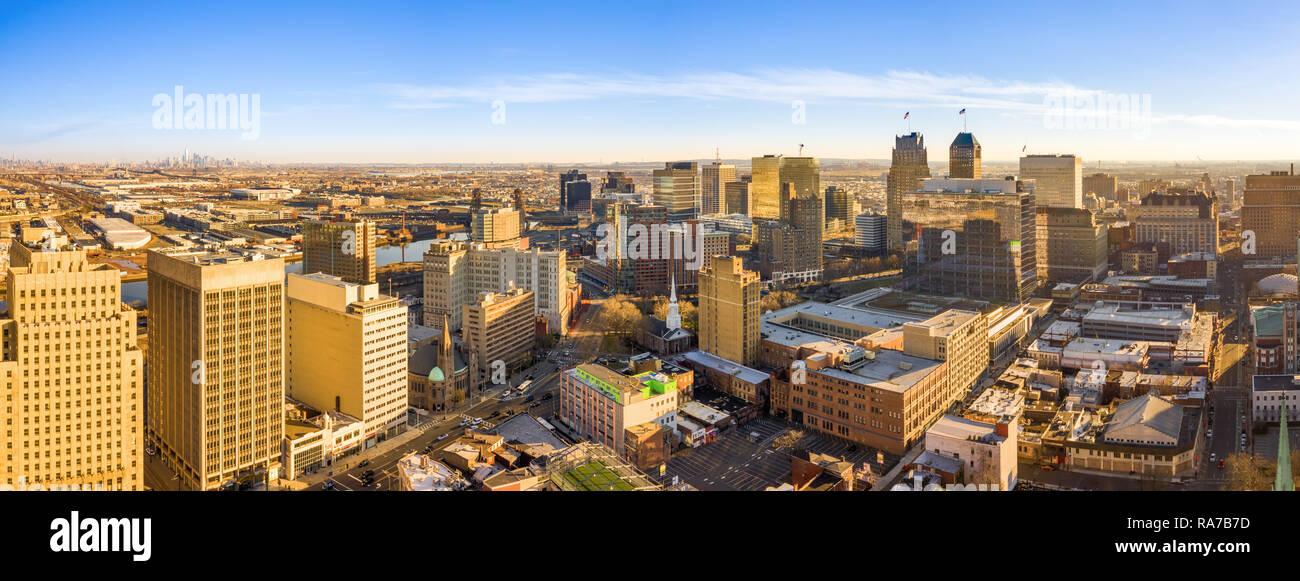 Panorama aéreo de Newark Nueva Jersey skyline Imagen De Stock